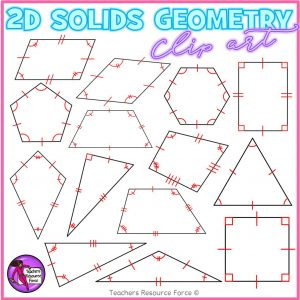 2D Solid Shapes With Congruence Lines Math Clip Art