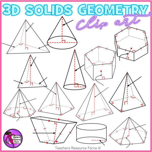 3D Solid Shapes With Congruence Lines Math Clip Art
