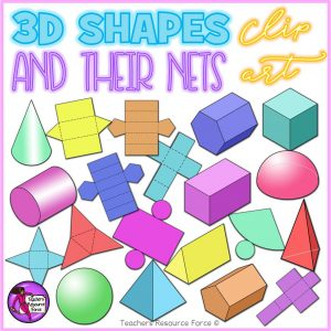 3D Shapes and Their Nets Clip Art