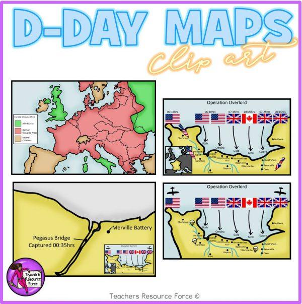 D Day Maps Realistic Clip Art