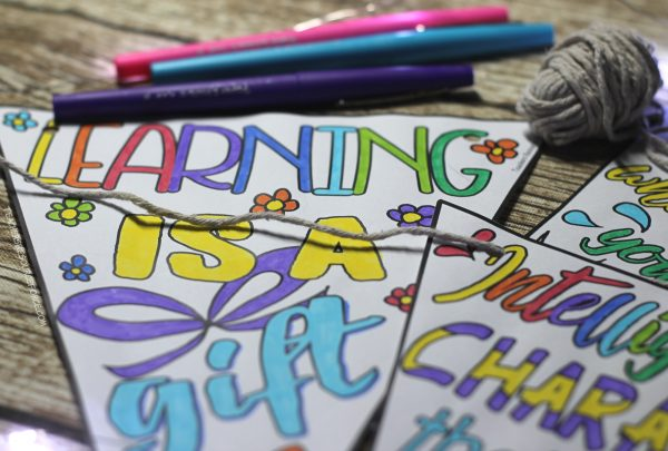 Inspirational Growth Mindset Quote Colouring Pennants