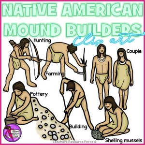 Native American Mound Builders Realistic Clip Art