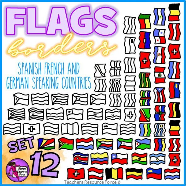 Flag Borders Clip Art (Spanish, French, German Speaking Countries)