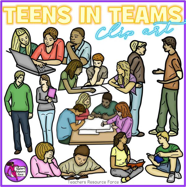Teenagers Sitting in Groups and Pairs Realistic Clip Art
