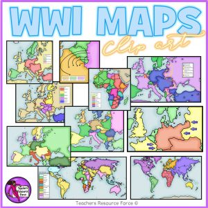World War 1 Maps Realistic Clip Art