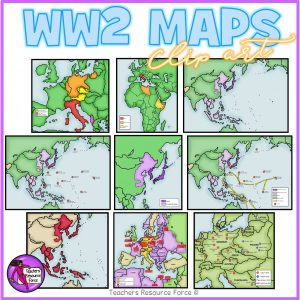 World War 2 Maps Realistic Clip Art