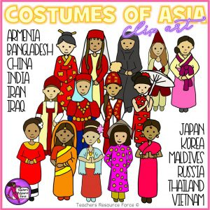Different Types of Asian Costumes Clip Art