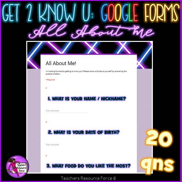 Get to know you Google Forms for kids