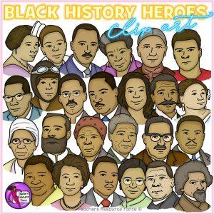 Black History Heroes Heads Realistic Clip Art