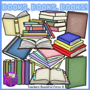 Different Types of Open and Closed Books Clip Art