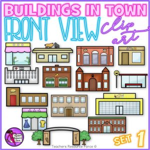 Front view clip art of buildings