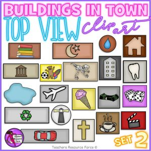 Top view clip art of buildings