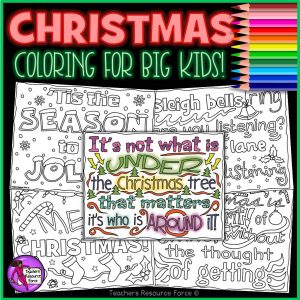 Christmas Quote Colouring Pages for Big Kids