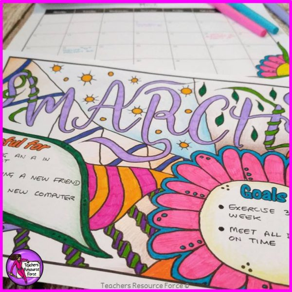 Dateless Colouring Calendar with Spaces for Goals and Gratitude