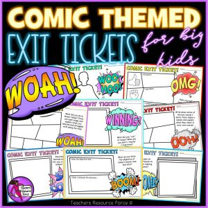 Comic Themed Exit Tickets for Big Kids
