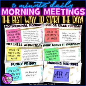 Distance Learning Daily Morning Meeting Digital Whiteboard PowerPoint (1 FULL YEAR)