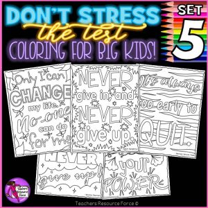 Growth Mindset Colouring Pages / Posters: Don't Stress The Test 5