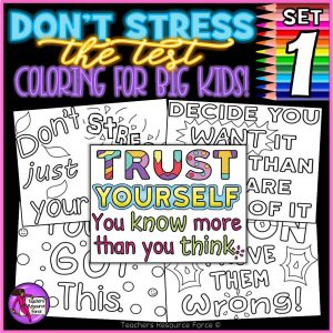Don't stress the test colouring pages