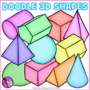 3D Doodle Shapes Clip Art