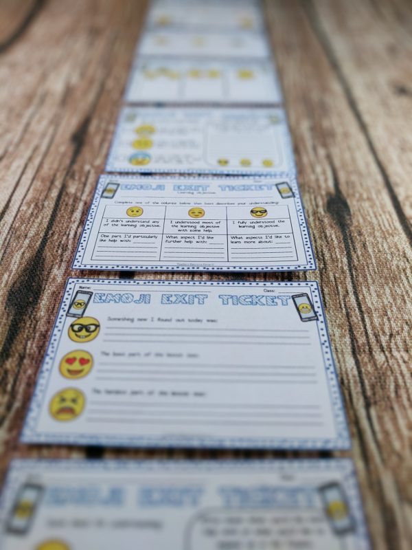 Emoji Themed Editable Exit Slip Tickets with Differentiated Options