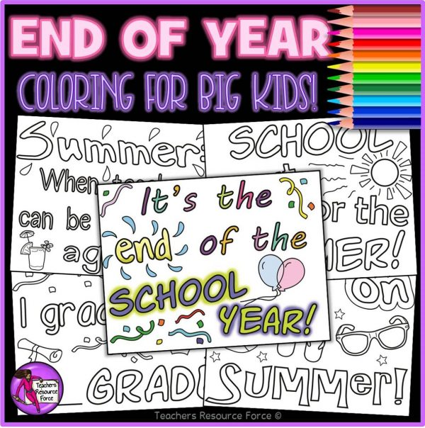 End of the Year Quote Colouring Pages for Big Kids