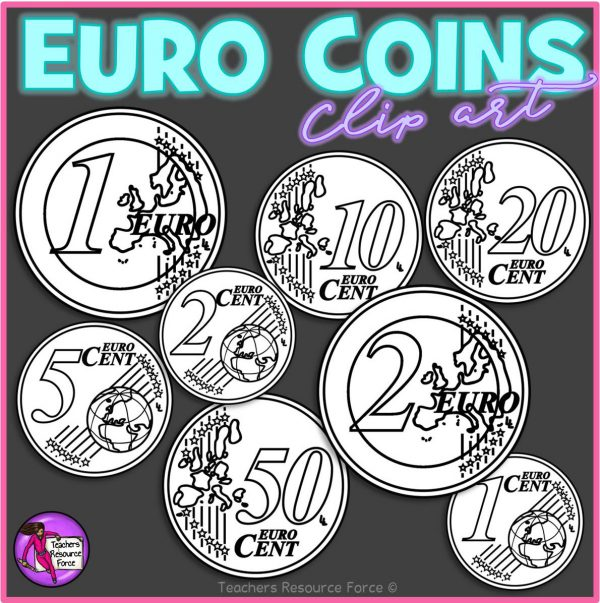 Euro Coins Clip Art: 1c, 2c, 5c, 10c, 20c, 50c, €1, €2