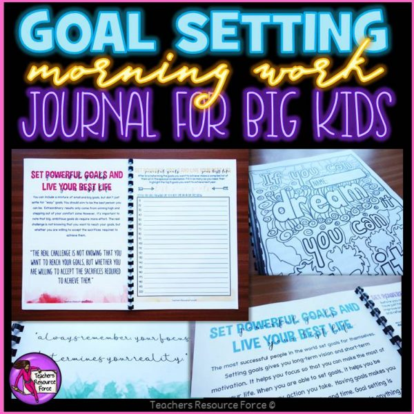 Back to School New Year Activities Resolutions Goal Setting Journal Morning Work