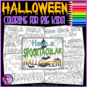 Halloween Quote Colouring Pages for Big Kids