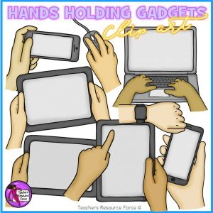 Hands Holding Technology Gadgets Clip Art