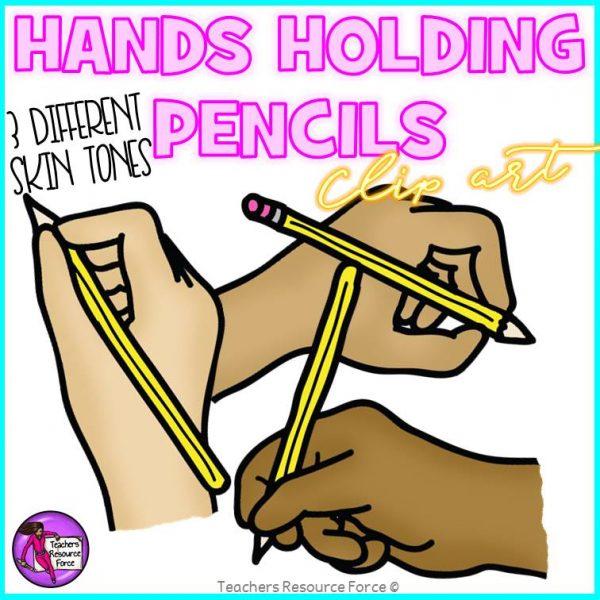 Hands Writing Holding Pencils Clip Art