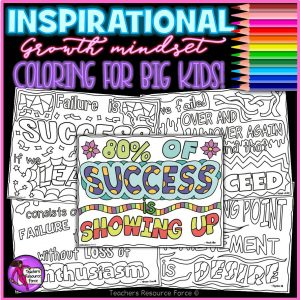 Growth mindset quote colouring pages on success