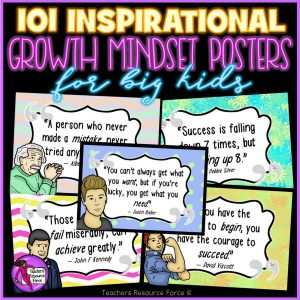 101 Inspirational Quotes Growth Mindset Classroom Posters