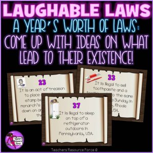 Funny Laws Challenge: Ideal for Writing Prompts, Creative Writing, Bell Ringers