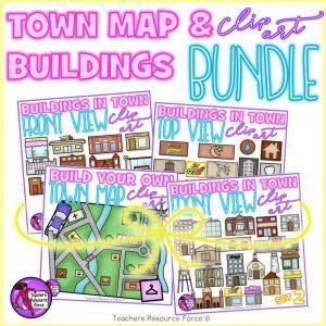 Town maps and buildings clip art bundle