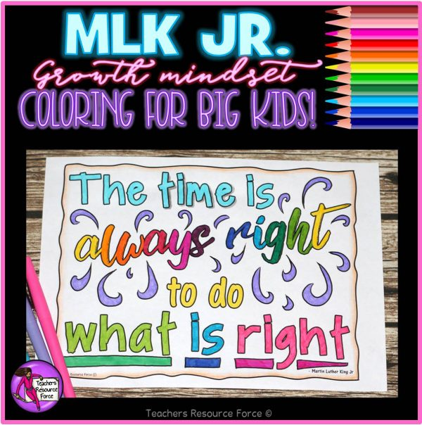 Martin Luther King Jr Inspirational Quote Colouring Pages for Big Kids