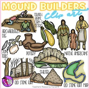 Mound Builders Realistic Clip Art