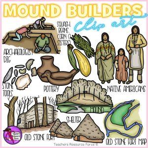 Mound Builders Realistic Clip Art