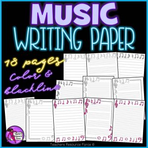 Music Themed Writing Paper for any Literacy / Music Activities