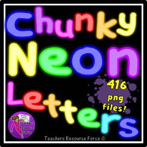 Chunky Neon Alphabet Letters Clip Art