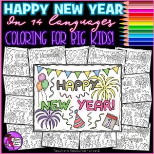 New Years Around the World Colouring Pages for Big Kids