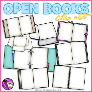 Different Types of Open Books and Folders Clip Art
