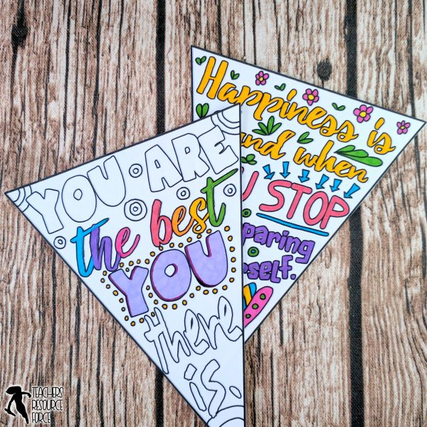 Self-Esteem Inspirational Quote Colouring Pennants