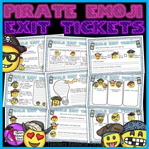Pirate Emoji Themed Editable Exit Tickets