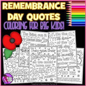 Remembrance / Memorial Day Quote Colouring Pages for Big Kids