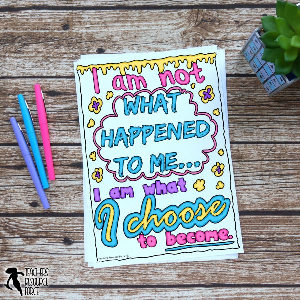Resilience Quote Colouring Pages for Character Education