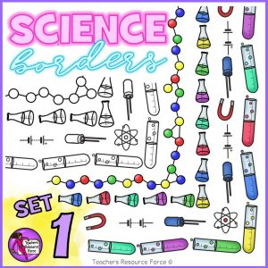 Science Borders Clip Art: Flasks, Test Tubes, Physics Symbols, Chemistry Molecules
