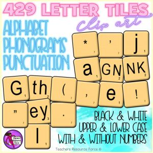 Letter Tiles Clip Art: Alphabet, Phonogram & Punctuation
