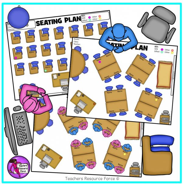 Editable Classroom Seating Chart Template Plan (with movable images)