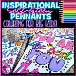 self-esteem colouring pennants