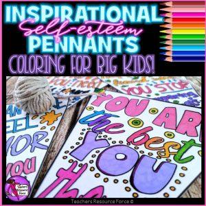 self-esteem colouring pennants